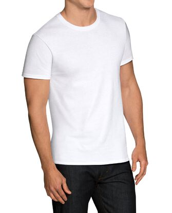 Men's Short Sleeve White Crew T-Shirts, 5 Pack, Extended Sizes