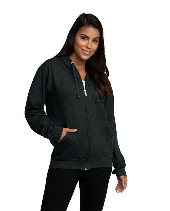 EverSoft Fleece Full Zip Hoodie Jacket, Extended Sizes, 1 Pack Black Heather