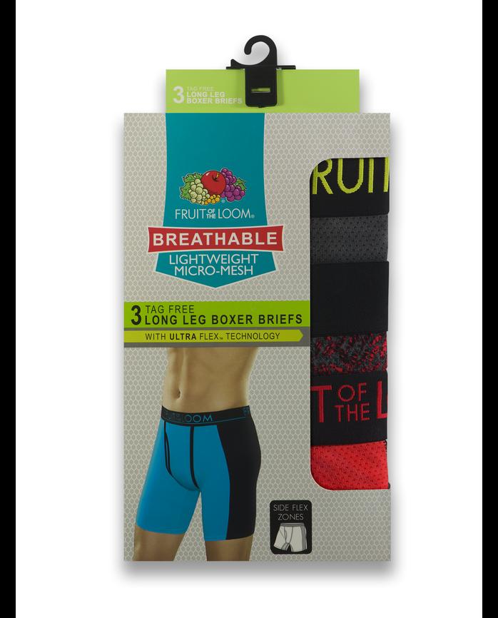 Men's Breathable with Ultra Flex Long Leg Boxer Briefs, 3 Pack