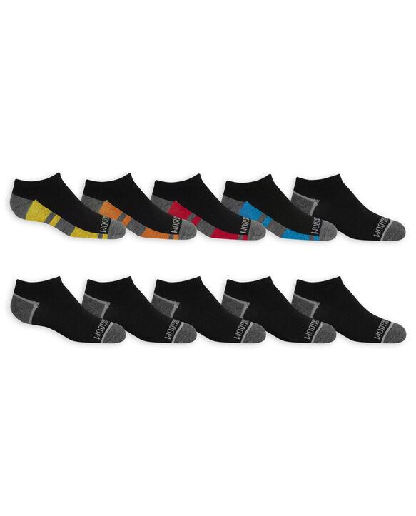 Boys' Lightweight No Show Socks, 10 Pack JET BLACK/HIGH RISK RED,JET BLACK/LEMONCH, JET BLACK/VIBRANT ORANGE, JET BLACK/B50, JET BLACK/DIRECTOR BLUE, JET BLACK/B50, JET BLACK/B50, JET BLACK/B