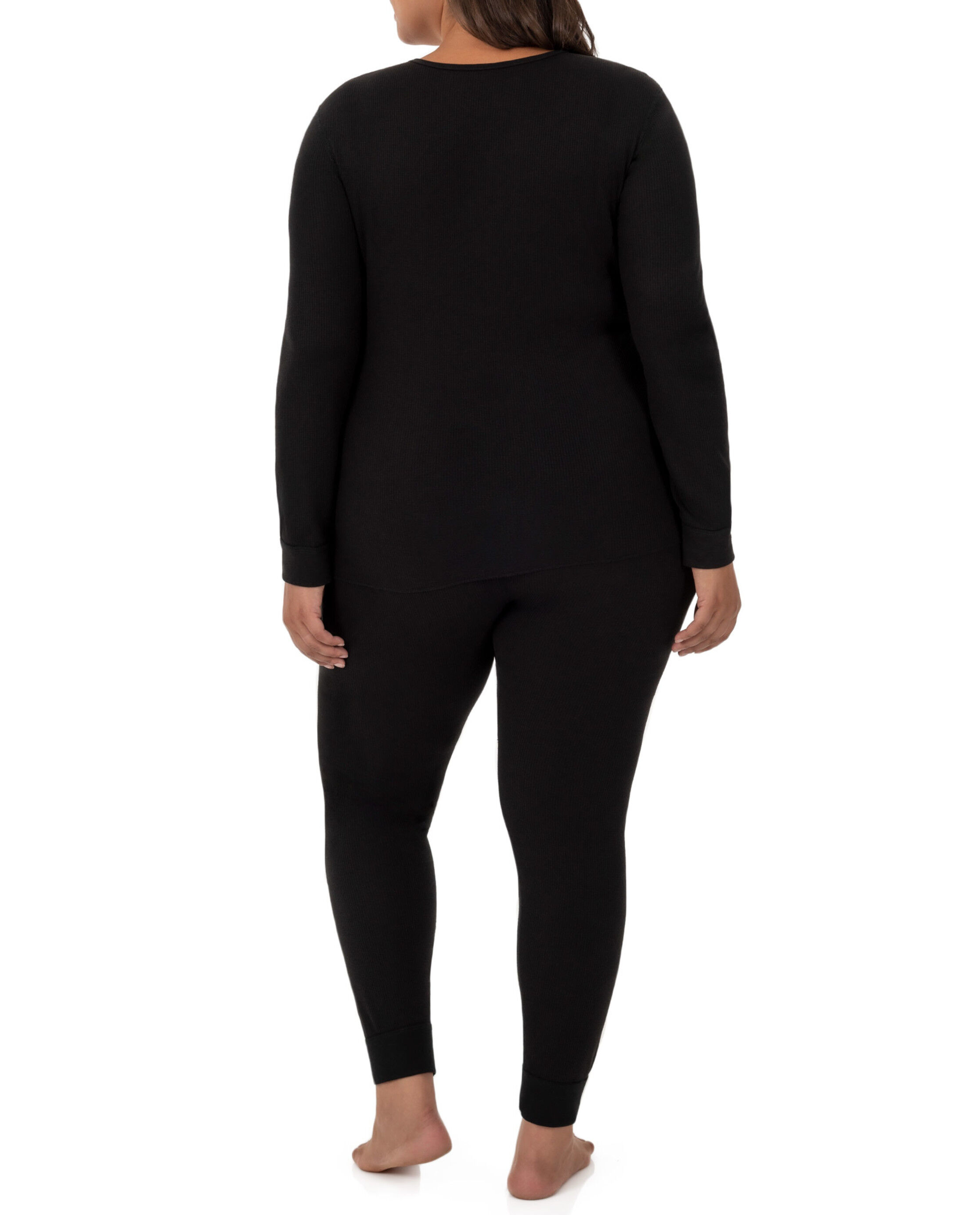 Thermal FILTER  Waffle Knit Women/'s Long Sleeve Deep V-neck Top Made in USA