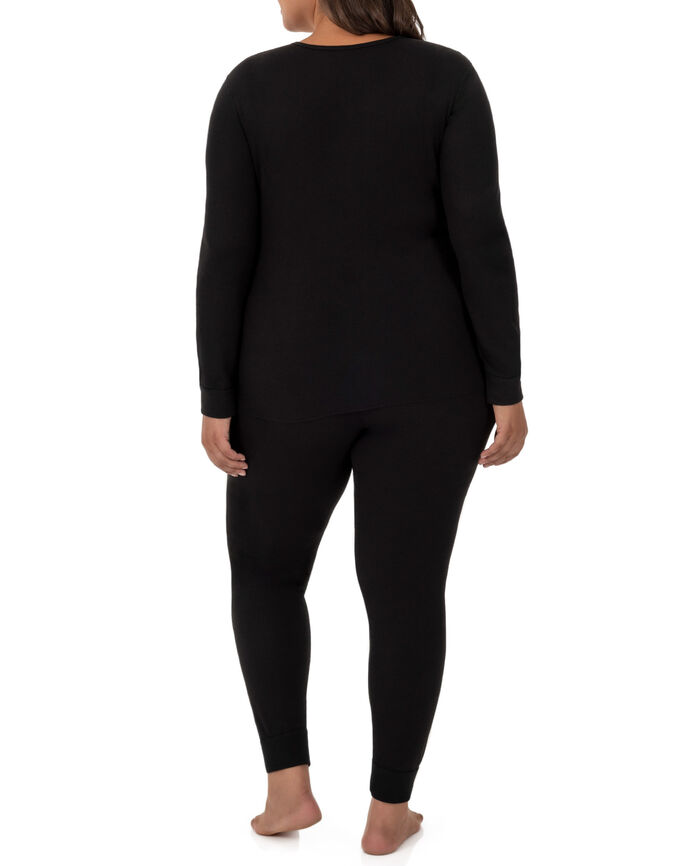 Women's Plus Size Thermal Crew & V-Neck Top, 2 Pack