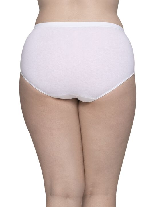 Women's Plus Size Fit for Me® by Fruit of the Loom® White Cotton Brief Panty, 6 Pack Assorted