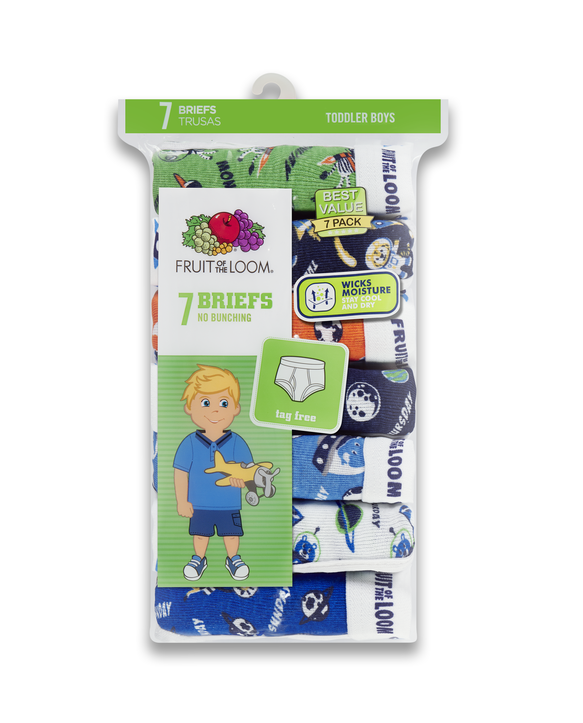 Toddler Boys' Days of the Week Print Brief, 7 Pack ASSORTED