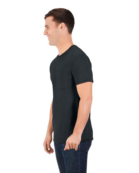 Men's 360 Breathe Short Sleeve Pocket T-Shirt, Extended Sizes Black Heather