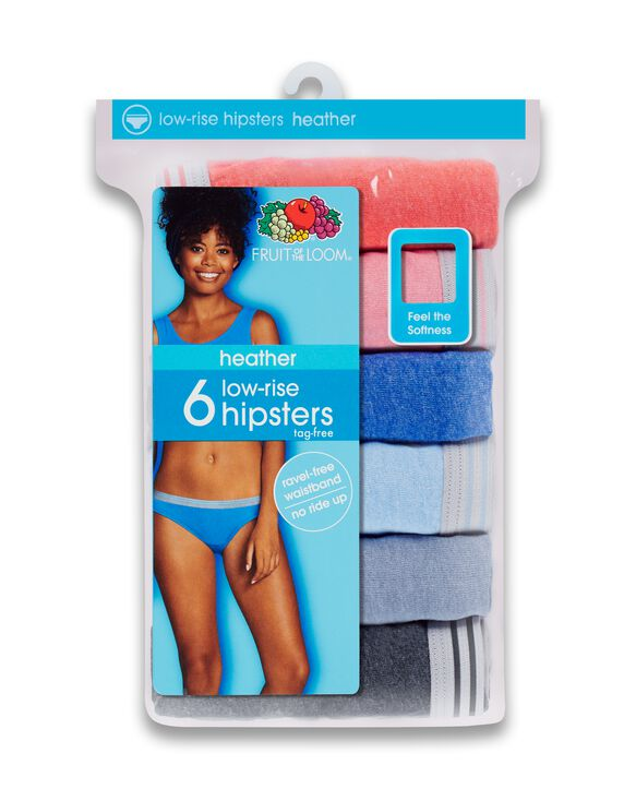 Fruit of the Loom Women's Heather Low-Rise Hipster Underwear, 6 Pack ASSORTED
