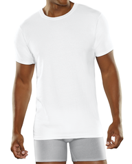 Men's Breathable Cooling Cotton White Crew Neck T-Shirts, 3 Pack WHITE ICE