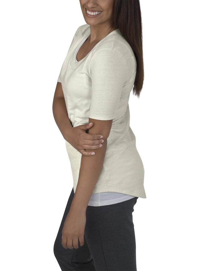 Women's Essentials Elbow Length V-Neck T-Shirt, 1 Pack White Fleck