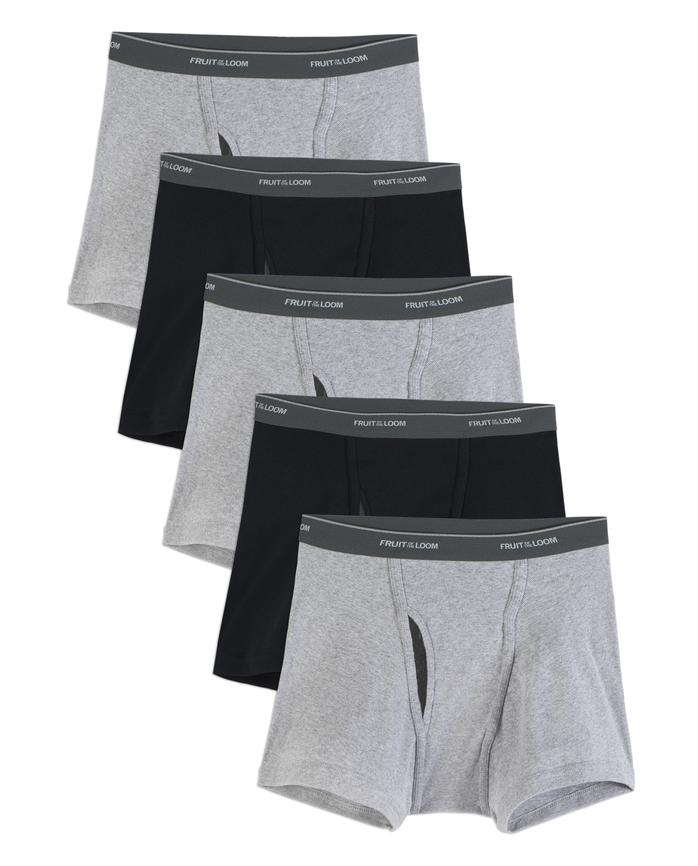 Men's Dual Defense Black and Gray Short Leg Boxer Briefs, 5 Pack