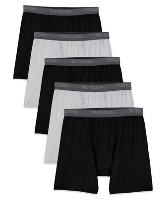 Men's Micro-Stretch Black/Gray Boxer Briefs, 5 Pack