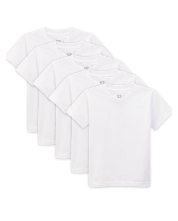Toddler Boys' White Crew Neck T-Shirts, 5 Pack White Ice