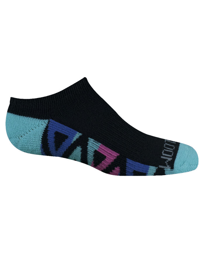 Girls' Cushioned No Show Socks with Arch Support, 6 Pack, Size 4-10 BLACK