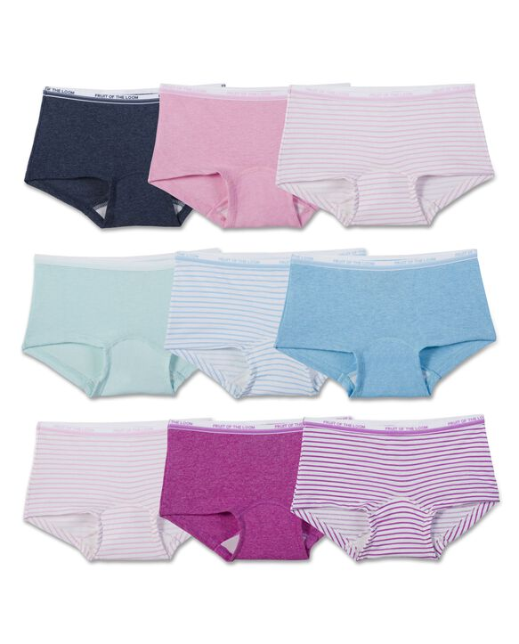 Girls' Assorted Heather Boy Shorts, 9 Pack Assorted