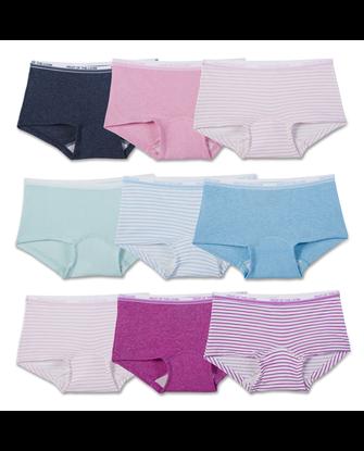 Girls' Assorted Heather Boy Shorts, 9 Pack