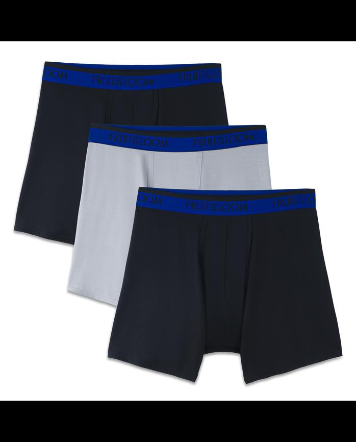 Men's Premium Cool Blend Black/Gray Boxer Briefs, 3 Pack