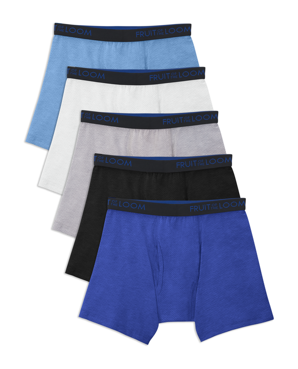 Boys' Breathable Cotton Mesh Boxer Brief, 5 Pack ASSORTED