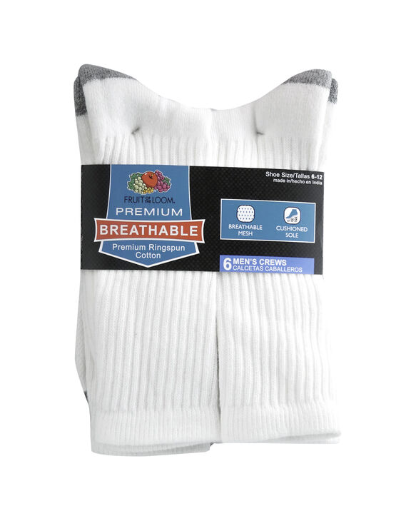 Men's Breathable Cotton Crew Socks, 6 Pack, Size 6-12 WHITE