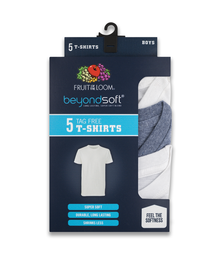Boys' Beyond Soft Crew Neck T-Shirts, 5 Pack