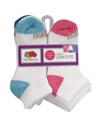 Girls' Cushioned Low Cut Socks, 10 Pack