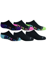 Girls' Cushioned No Show Socks with Arch Support 6 Pair BLACK