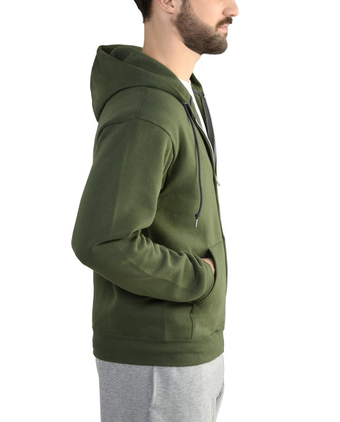 Men's Dual Defense EverSoft Fleece Full Zip Hooded Sweatshirt, 1 Pack Boxwood Green