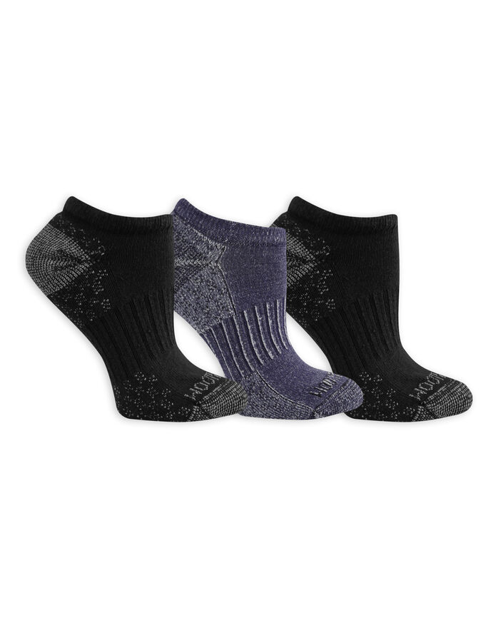 Women's On Her Feet Cotton Zone Cushion No Show Socks, 3 Pack BLACK/GREY, BLACK/DENIM
