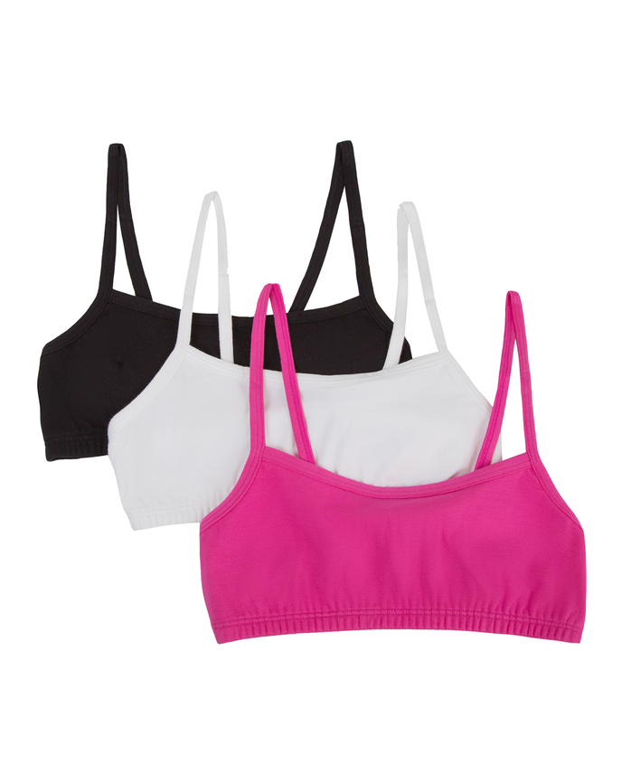 Girls' Spaghetti Strap Sport Bra, 3 Pack BLACK/ PASSION FRUIT/WHITE