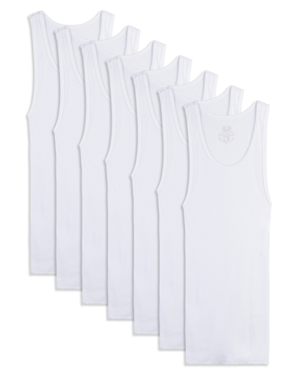 Boys' White Tank Top A-Shirts, 7 Pack