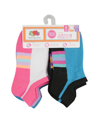 Girls' Active Lightweight No Show Tab Socks, 6 Pack