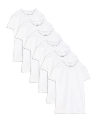 Men's Short Sleeve White Crew T-Shirts, 6 Pack