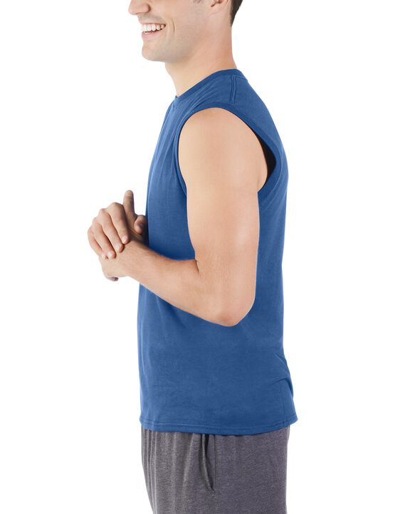 Men's Dual Defense UPF Sleeveless Muscle Shirt Blue Shadow