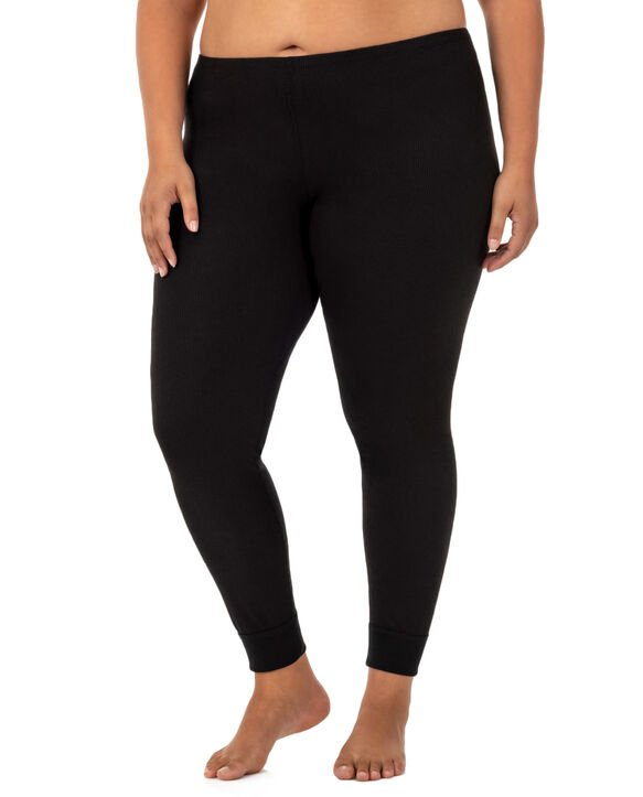 Women's Plus Size Thermal Bottom, 2 Pack Black