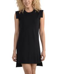 Women's Seek No Further Pleated Ponte Shift Dress Brilliant Black
