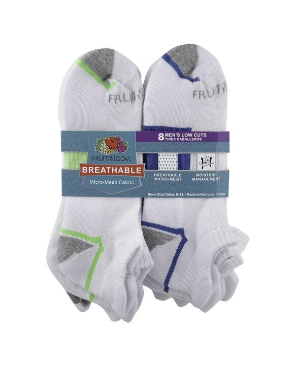 Men's Breathable Low Cut Socks Pair, 8 Pack WHITE/GREEN, WHITE, GREY/RED, WHITE, WHITE/BLUE, W