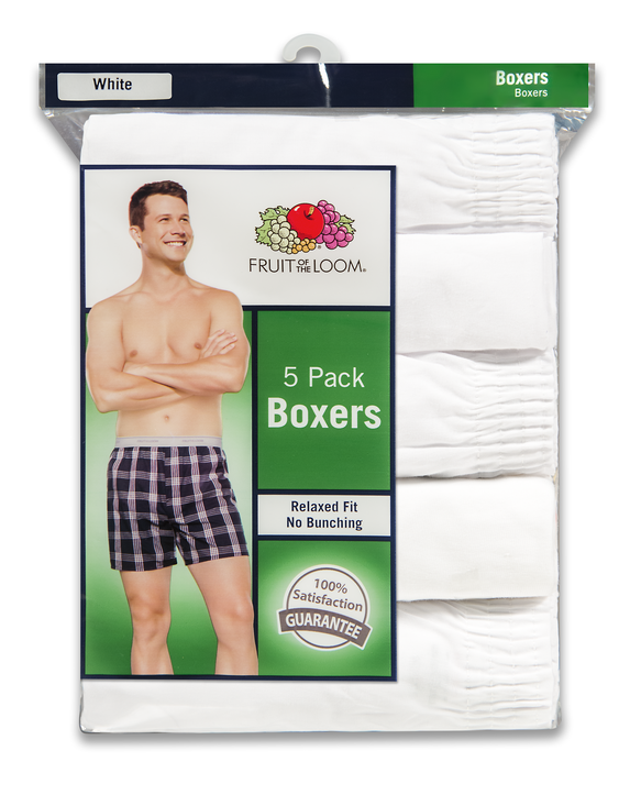 Men's Relaxed Fit White Boxers, 5 Pack, Extended Sizes White
