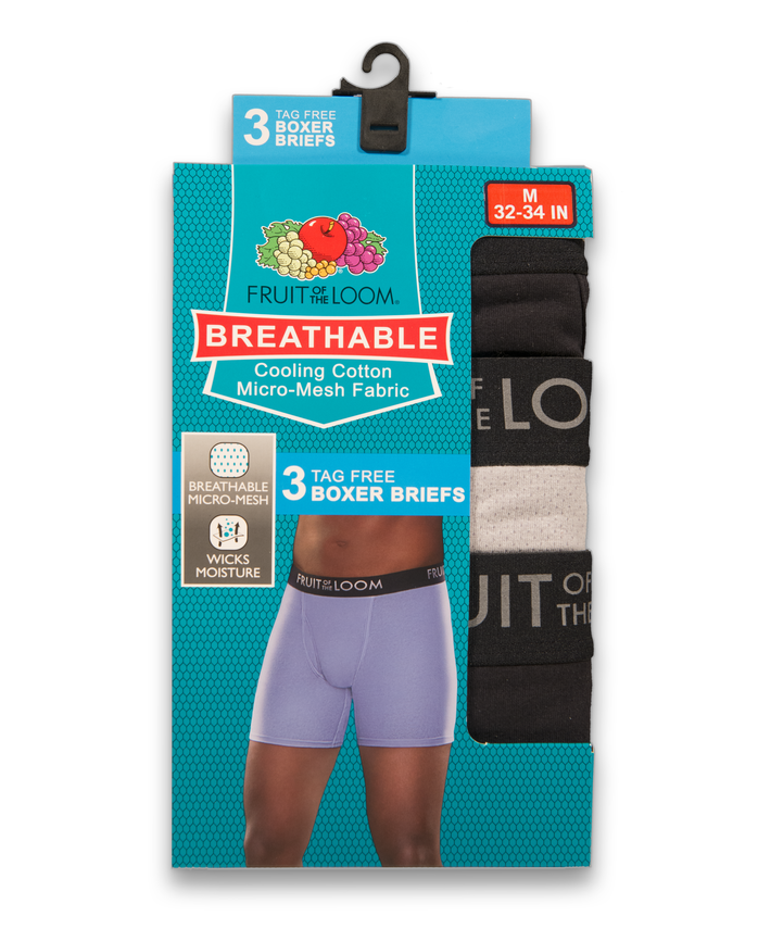 Men's Breathable Cotton Micro-Mesh Boxer Briefs , 3 Pack, Size 2XL Assorted