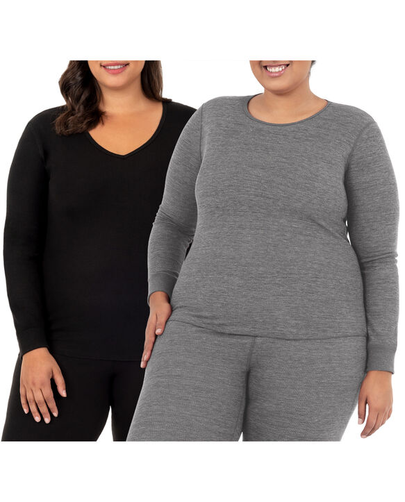 Women's Plus Size Thermal Crew & V-Neck Top, 2 Pack SMOKE INJECTION HEATHER (CREW)/BLACK (VNECK)