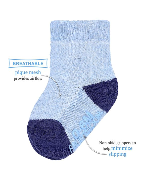 Baby Boys' Breathable Socks, 6 Pack Blue Multi