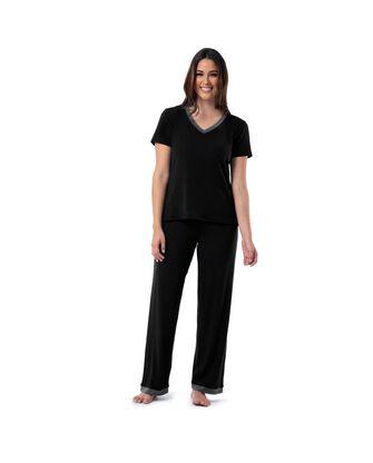 Women's Soft & Breathable V-Neck T-shirt and Pants, 2-Piece Pajama Set
