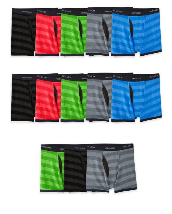 Boys' Striped Boxer Briefs, 10+3 Bonus Pack