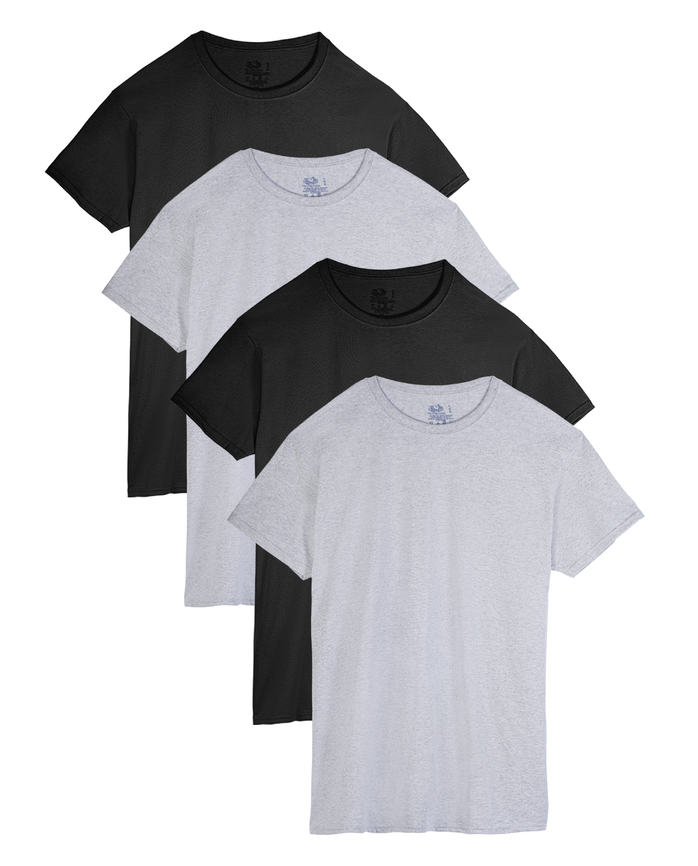 Men's Short Sleeve Black and Gray Crew T-Shirts, Extended Sizes, 4 Pack