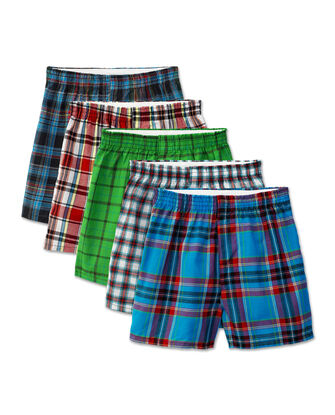 Boys' Tartan Plaid Boxer, 5 Pack
