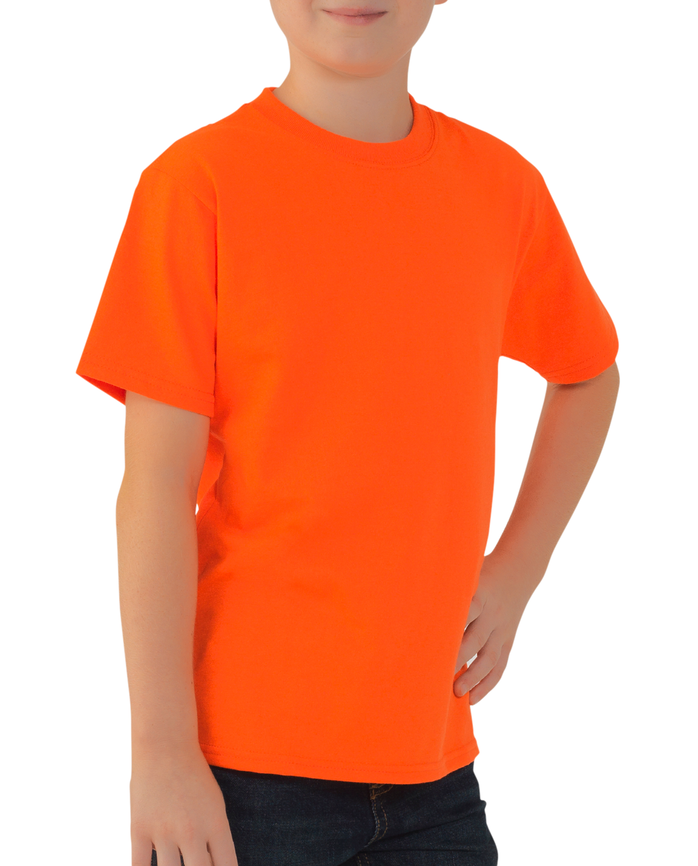 Boys' Short Sleeve Crew T-Shirt, 2 Pack Blazing Orange