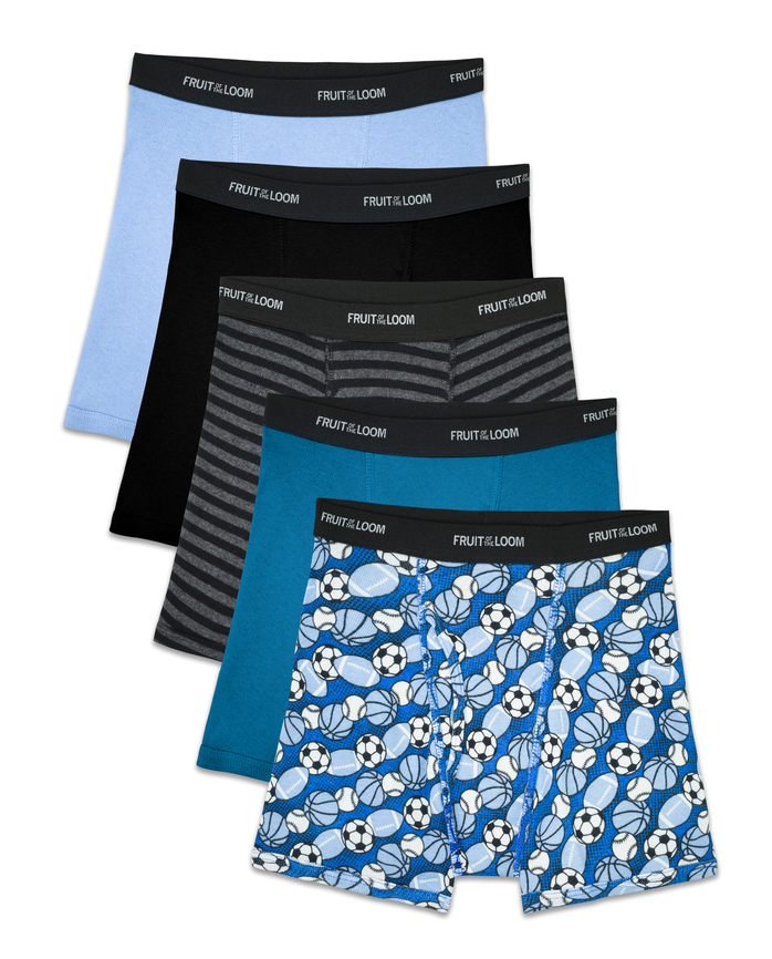 Boys' Sport Style Boxer Briefs, 5 Pack
