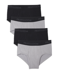 Men's Breathable Black/Gray Brief, 4 Pack, Size 2XL Assorted