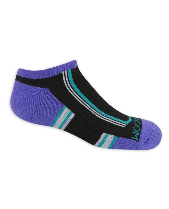 Girls' Active Cushioned No Show Socks, 6 Pack BLACK/PINK, BLACK/PURPLE, BLACK/BLUE, BLACK, BLUE