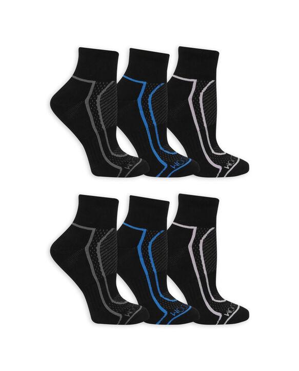 Women's CoolZone Cushioned Cotton Ankle Socks, 6 Pack BLACK/BLUE, BLACK/GREY, BLACK/LAVENDAR, BLACK/GREY, BLACK/BLUE, BLACK/LAVENDAR
