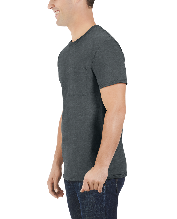 Men's Dual Defense® Pocket T Shirt, 1 Pack, Extended Sizes Charcoal Heather