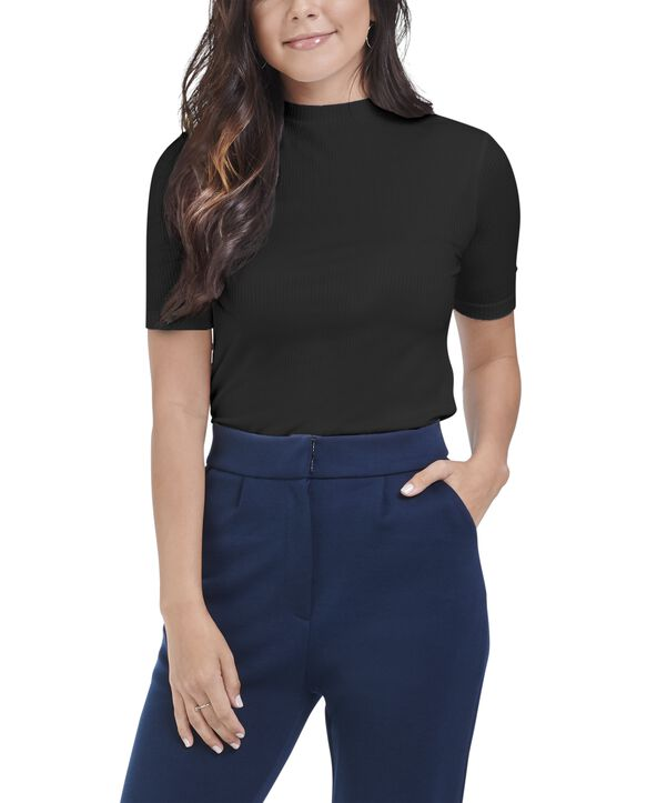 Women's Seek No Further Mock Neck Ribbed T-Shirt Brilliant Black