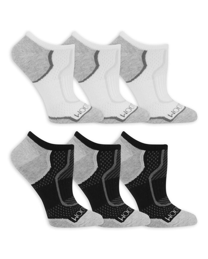 Women's CoolZone Cotton Lightweight No Show Socks, 6 Pack WHITE/GREY HEEL AND TOE, BLACK/GREY HEEL AND TOE